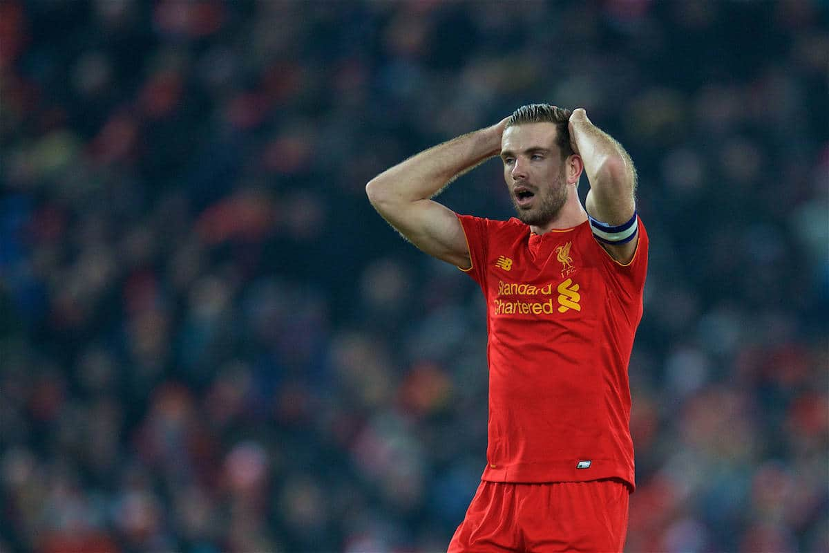 LIVERPOOL, ENGLAND - Wednesday, January 25, 2017: Liverpool's captain Jordan Henderson looks dejected during the Football League Cup Semi-Final 2nd Leg match against Southampton at Anfield. (Pic by David Rawcliffe/Propaganda)