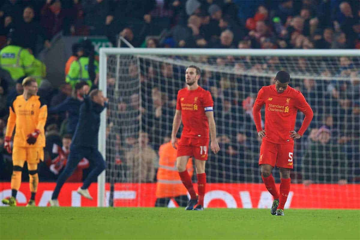 LIVERPOOL, ENGLAND - Wednesday, January 25, 2017: Liverpool's Georginio Wijnaldum looks dejected as Southampton score an injury time winning goal, to seal a 1-0, 2-0 on aggregate, victory during the Football League Cup Semi-Final 2nd Leg match at Anfield. (Pic by David Rawcliffe/Propaganda)