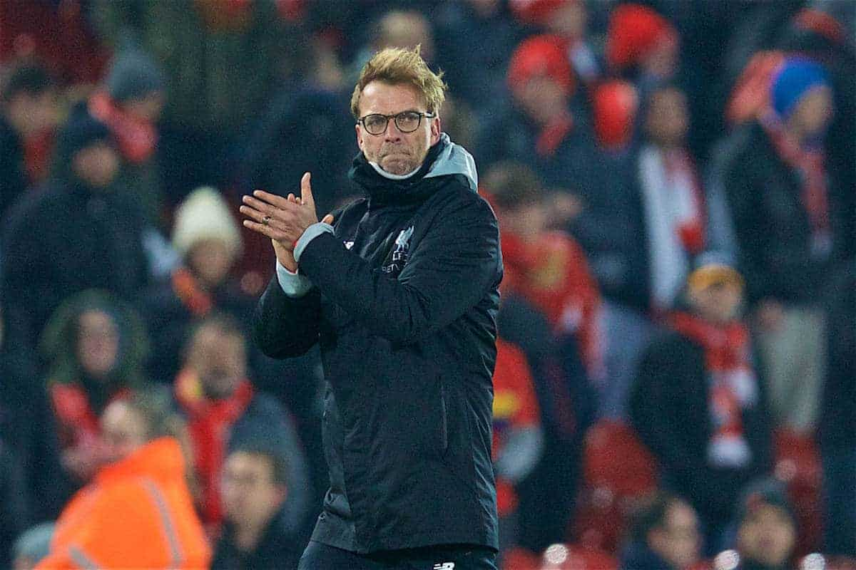 LIVERPOOL, ENGLAND - Wednesday, January 25, 2017: Liverpool's manager Jürgen Klopp looks dejected after Southampton sealed a 1-0, 2-0 on aggregate, victory during the Football League Cup Semi-Final 2nd Leg match at Anfield. (Pic by David Rawcliffe/Propaganda)