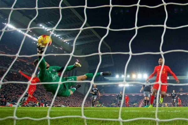 LIVERPOOL, ENGLAND - Wednesday, January 25, 2017: Southampton's goalkeeper Fraser Forster makes a fingertip save to claw the ball from crossing the line, during the Football League Cup Semi-Final 2nd Leg match against Liverpool at Anfield. (Pic by David Rawcliffe/Propaganda)