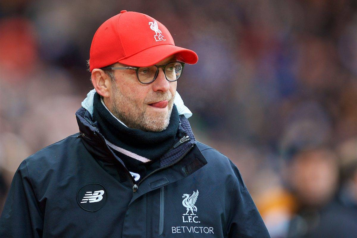 LIVERPOOL, ENGLAND - Saturday, January 28, 2017: Liverpool's manager Jürgen Klopp before the FA Cup 4th Round match against Wolverhampton Wanderers at Anfield. (Pic by David Rawcliffe/Propaganda)