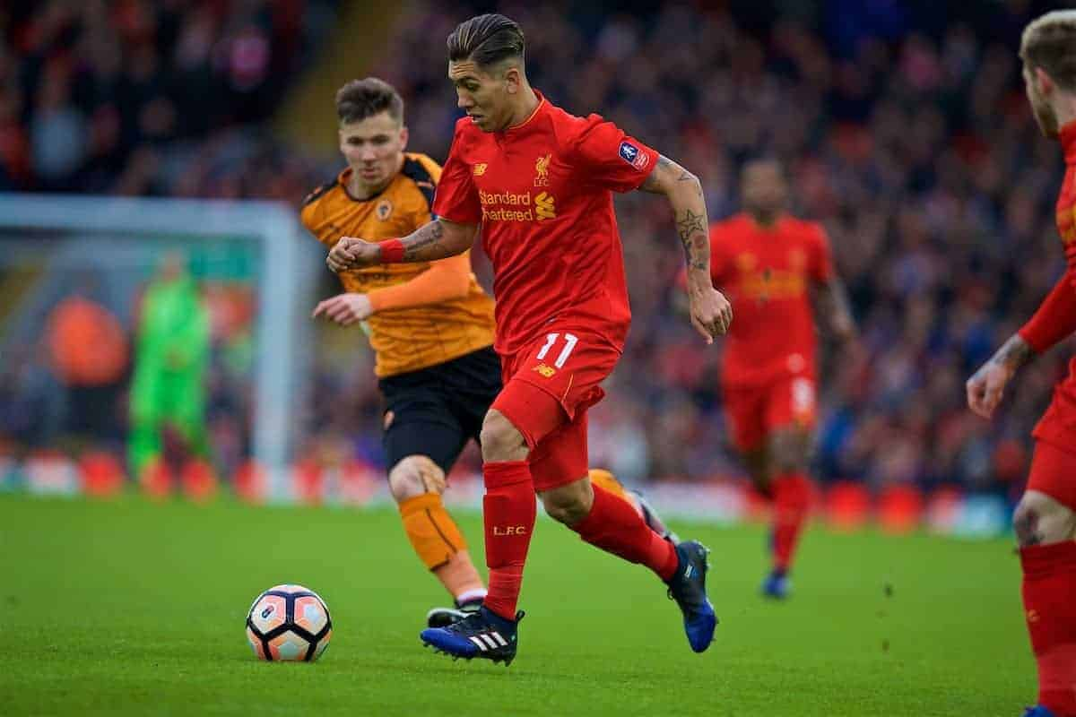 LIVERPOOL, ENGLAND - Saturday, January 28, 2017: Liverpool's Roberto Firmino in action against Wolverhampton Wanderers during the FA Cup 4th Round match at Anfield. (Pic by David Rawcliffe/Propaganda)