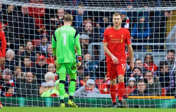 LIVERPOOL, ENGLAND - Saturday, January 28, 2017: Liverpool's goalkeeper Loris Karius and Ragnar Klavan look dejected as Wolverhampton Wanderers take a two-goal lead during the FA Cup 4th Round match at Anfield. (Pic by David Rawcliffe/Propaganda)