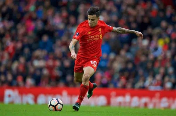Liverpool's Philippe Coutinho Correia in action against Wolverhampton Wanderers during the FA Cup 4th Round match at Anfield. (Pic by David Rawcliffe/Propaganda)