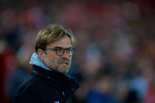 LIVERPOOL, ENGLAND - Tuesday, January 31, 2017: Liverpool's manager Jürgen Klopp before the FA Premier League match against Chelsea at Anfield. (Pic by David Rawcliffe/Propaganda)