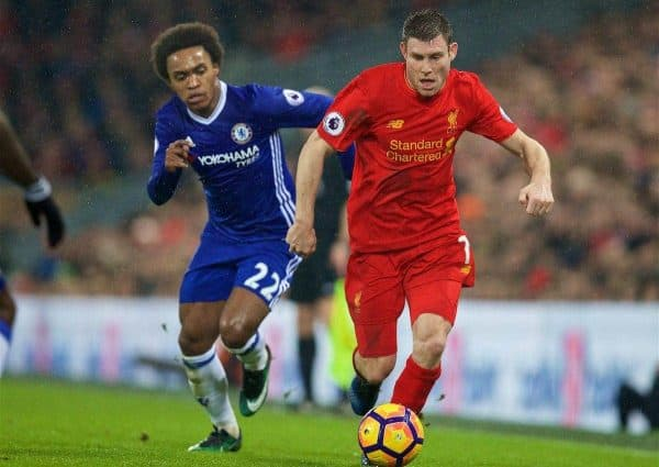 LIVERPOOL, ENGLAND - Tuesday, January 31, 2017: Liverpool's James Milner in action against Chelsea during the FA Premier League match at Anfield. (Pic by David Rawcliffe/Propaganda)