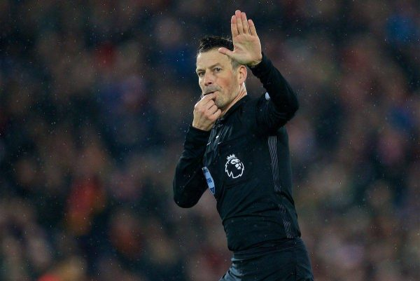 LIVERPOOL, ENGLAND - Tuesday, January 31, 2017: Referee Mark Clattenburg during the FA Premier League match between Liverpool and Chelsea at Anfield. (Pic by David Rawcliffe/Propaganda)