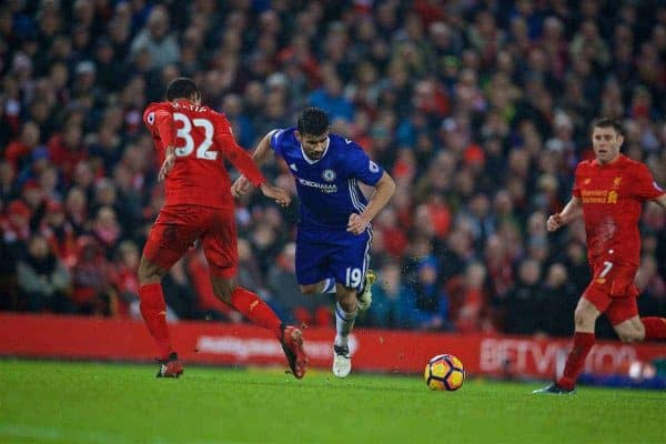 LIVERPOOL, ENGLAND - Tuesday, January 31, 2017: Chelsea's Diego Costa throws himself into the air to win a penalty from Liverpool's Joel Matip during the FA Premier League match at Anfield. (Pic by David Rawcliffe/Propaganda)