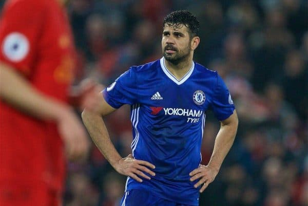 LIVERPOOL, ENGLAND - Tuesday, January 31, 2017: Chelsea's Diego Costa looks dejected after missing a penalty against Liverpool during the FA Premier League match at Anfield. (Pic by David Rawcliffe/Propaganda)