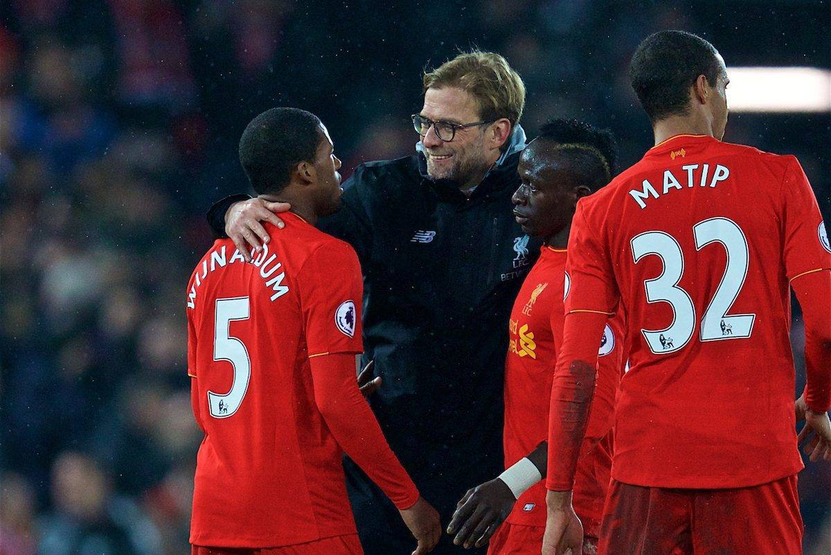 LIVERPOOL, ENGLAND - Tuesday, January 31, 2017: Liverpool's manager Jürgen Klopp embraces Georginio Wijnaldum and Sadio Mane after the FA Premier League match against Chelsea at Anfield. (Pic by David Rawcliffe/Propaganda)