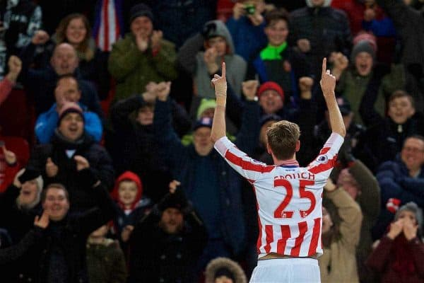 STOKE-ON-TRENT, ENGLAND - Wednesday, February 1, 2017: Stoke City's Peter Crouch celebrates scoring the first goal against Everton during the FA Premier League match at the Britannia Stadium. (Pic by David Rawcliffe/Propaganda)