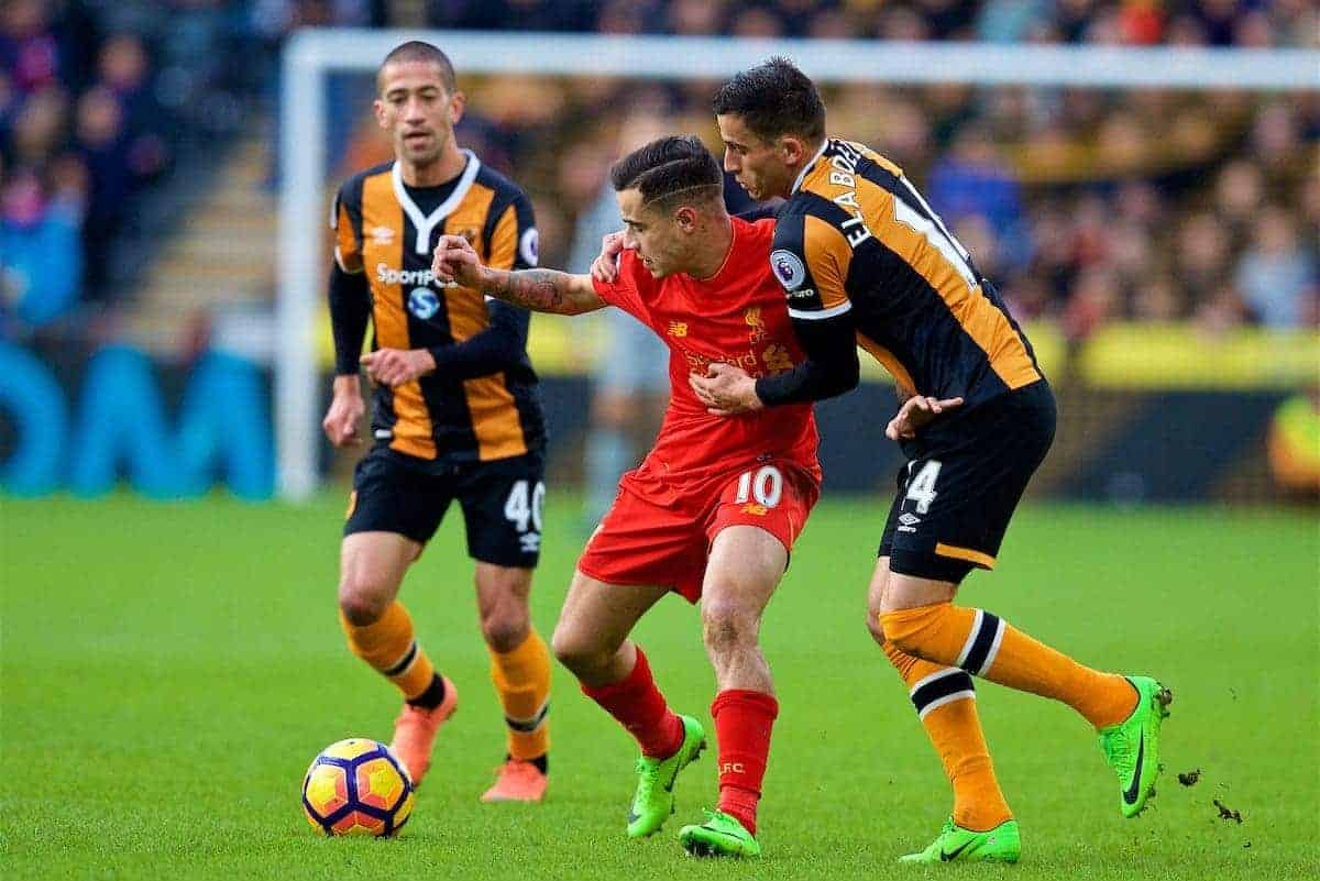 KINGSTON-UPON-HULL, ENGLAND - Saturday, February 4, 2017: Liverpool's Philippe Coutinho Correia in action against Hull City during the FA Premier League match at the KCOM Stadium. (Pic by David Rawcliffe/Propaganda)