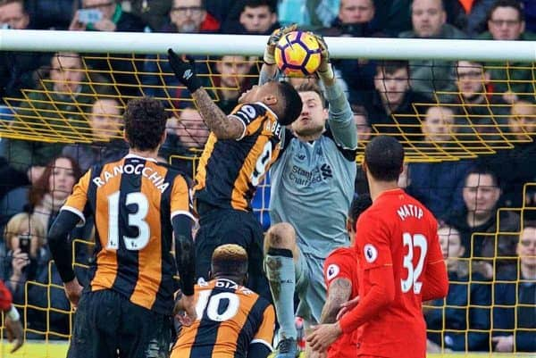 KINGSTON-UPON-HULL, ENGLAND - Saturday, February 4, 2017: Hull City's Alfred N'Diaye challenges Liverpool's goalkeeper Simon Mignolet, which leads to the opening goal, during the FA Premier League match at the KCOM Stadium. (Pic by David Rawcliffe/Propaganda)