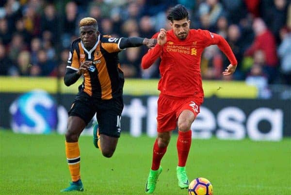 KINGSTON-UPON-HULL, ENGLAND - Saturday, February 4, 2017: Liverpool's Emre Can in action against Hull City's Alfred N'Diaye during the FA Premier League match at the KCOM Stadium. (Pic by David Rawcliffe/Propaganda)