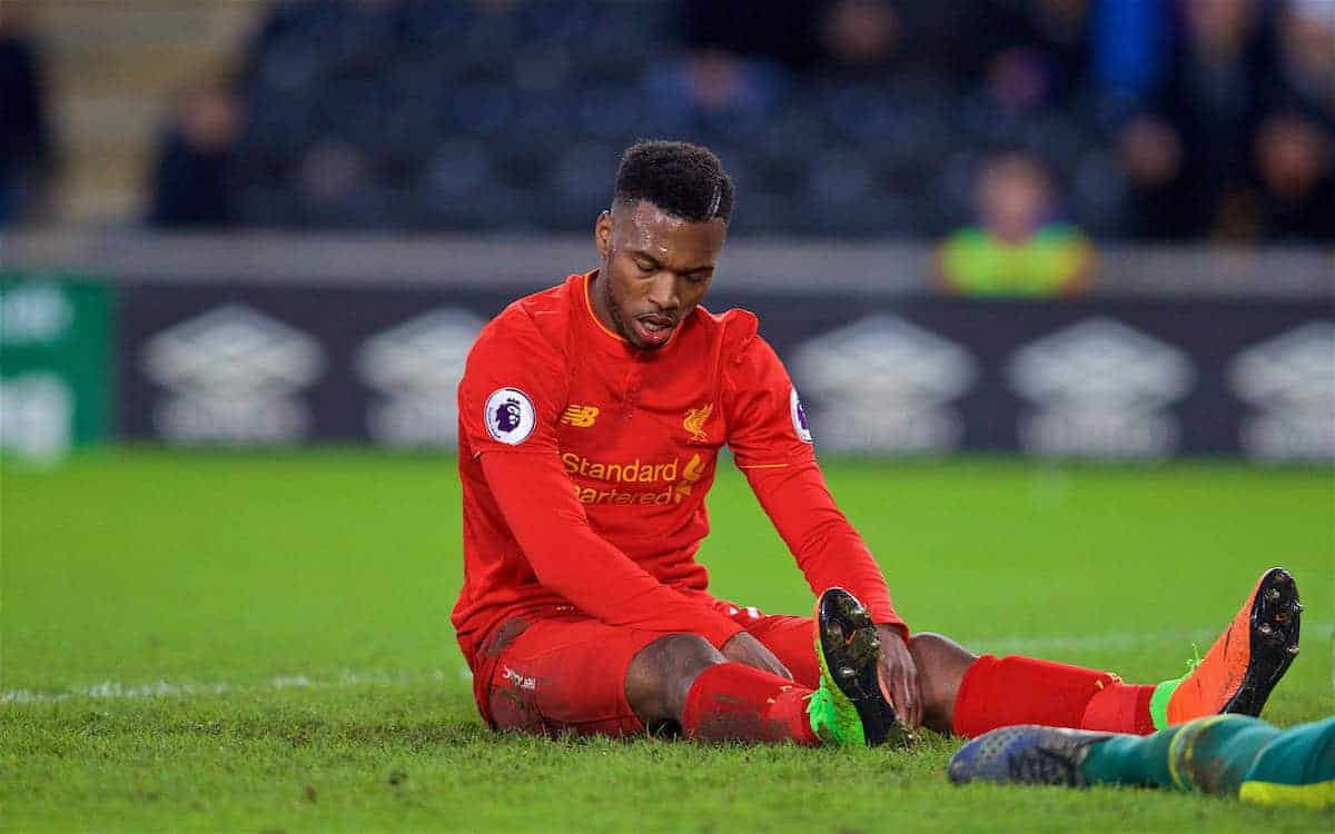 KINGSTON-UPON-HULL, ENGLAND - Saturday, February 4, 2017: Liverpool's Daniel Sturridge looks dejected after missing a chance against Hull City during the FA Premier League match at the KCOM Stadium. (Pic by David Rawcliffe/Propaganda)