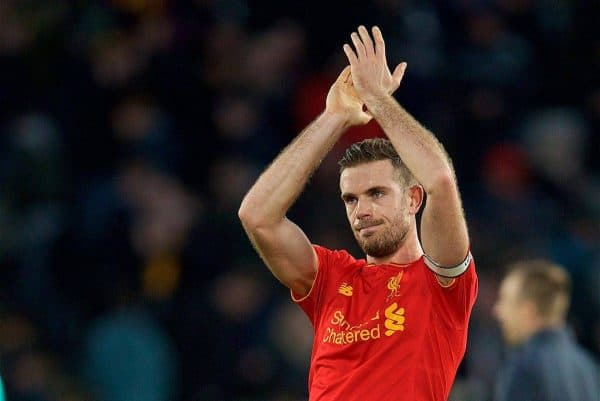 KINGSTON-UPON-HULL, ENGLAND - Saturday, February 4, 2017: Liverpool's captain Jordan Henderson applaud the travelling supporters after the 2-0 defeat to in Hull City during the FA Premier League match at the KCOM Stadium. (Pic by David Rawcliffe/Propaganda)