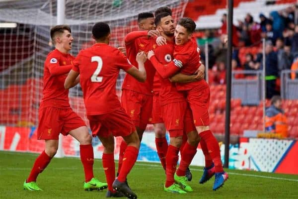 LIVERPOOL, ENGLAND - Sunday, February 5, 2017: Liverpool's Kevin Stewart celebrates scoring the third goal against Tottenham Hotspur with team-mates during FA Premier League 2 Division 1 Under-23 match at Anfield. (Pic by David Rawcliffe/Propaganda)