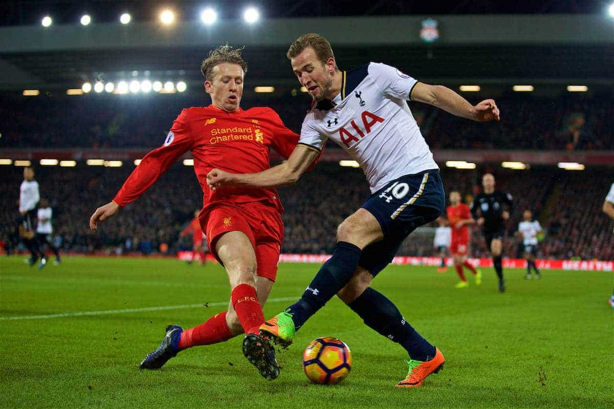 LIVERPOOL, ENGLAND - Saturday, February 11, 2017: Liverpool's Lucas Leiva in action against Harry Kane of Tottenham Hotspur during the FA Premier League match at Anfield. (Pic by David Rawcliffe/Propaganda)