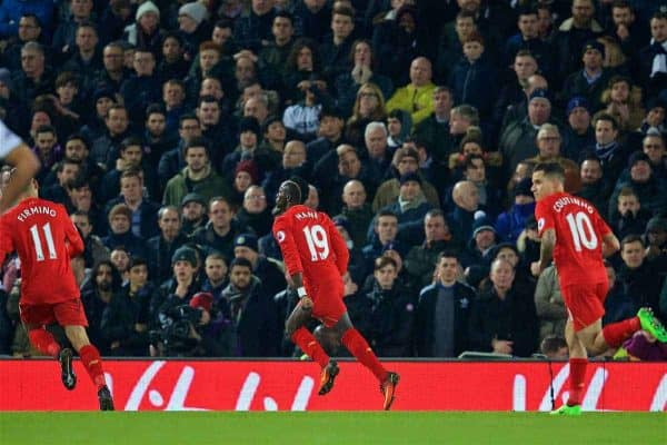 LIVERPOOL, ENGLAND - Saturday, February 11, 2017: Liverpool's Sadio Mane celebrates scoring the first goal against Tottenham Hotspur during the FA Premier League match at Anfield. (Pic by David Rawcliffe/Propaganda)