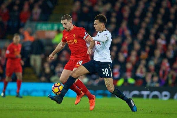 LIVERPOOL, ENGLAND - Saturday, February 11, 2017: Liverpool's captain Jordan Henderson in action against Tottenham Hotspur's Dele Alli during the FA Premier League match at Anfield. (Pic by David Rawcliffe/Propaganda)