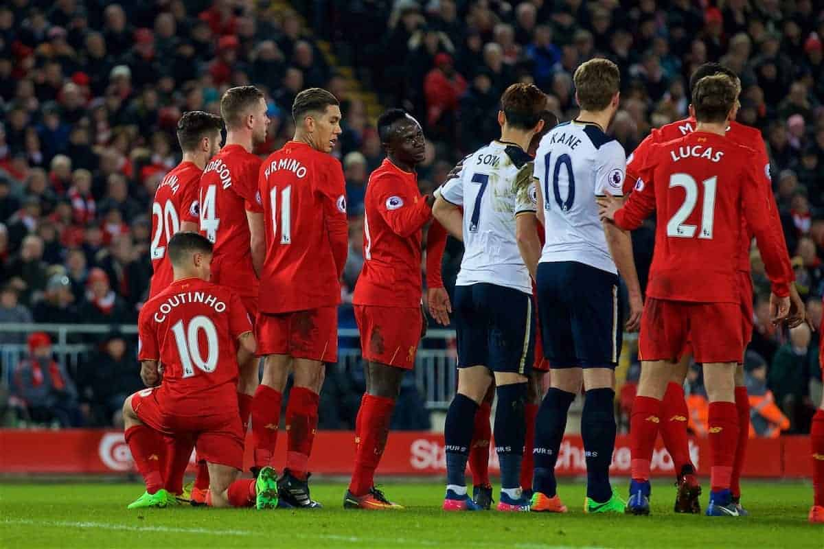 LIVERPOOL, ENGLAND - Saturday, February 11, 2017: Liverpool's Philippe Coutinho Correia tries an unusual way to form a defensive wall as Tottenham Hotspur prepare to take a free-kick during the FA Premier League match at Anfield. (Pic by David Rawcliffe/Propaganda)