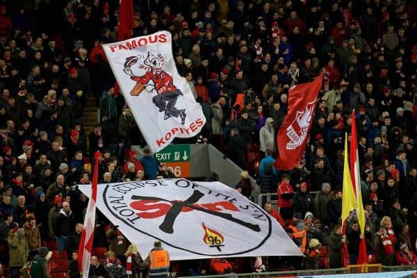 "LIVERPOOL, ENGLAND - Saturday, February 11, 2017: Liverpool supporters' banners ""Famous Kopites"" and ""Total Eclipse of the Sun"" on the Spion Kop before the FA Premier League match against Tottenham Hotspur at Anfield. (Pic by David Rawcliffe/Propaganda)"