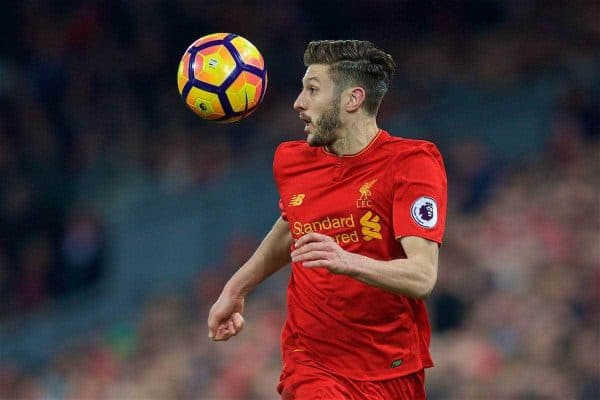 LIVERPOOL, ENGLAND - Saturday, February 11, 2017: Liverpool's Adam Lallana in action against Tottenham Hotspur during the FA Premier League match at Anfield. (Pic by David Rawcliffe/Propaganda)