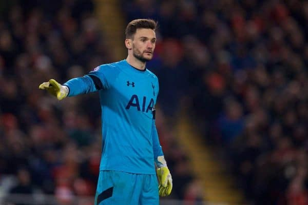 LIVERPOOL, ENGLAND - Saturday, February 11, 2017: Tottenham Hotspur's goalkeeper Hugo Lloris in action against Liverpool during the FA Premier League match at Anfield. (Pic by David Rawcliffe/Propaganda)