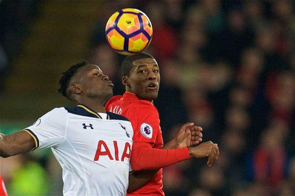 LIVERPOOL, ENGLAND - Saturday, February 11, 2017: Liverpool's Georginio Wijnaldum in action against Tottenham Hotspur's Victor Wanyama during the FA Premier League match at Anfield. (Pic by David Rawcliffe/Propaganda)