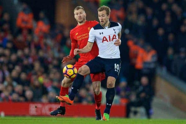 LIVERPOOL, ENGLAND - Saturday, February 11, 2017: Liverpool's Ragnar Klavan in action against Tottenham Hotspur's Harry Kane during the FA Premier League match at Anfield. (Pic by David Rawcliffe/Propaganda)