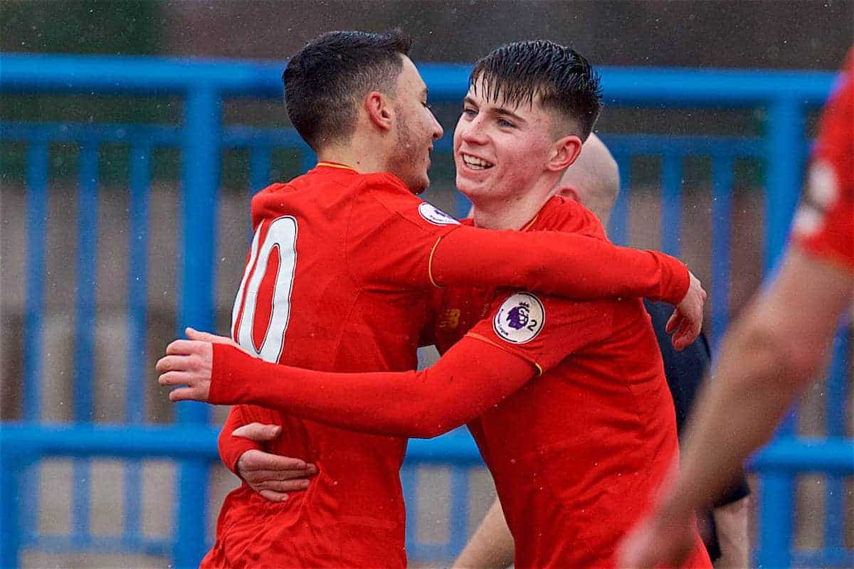 ASHTON-UNDER-LYNE, ENGLAND - Sunday, February 12, 2017: Liverpool's Ben Woodburn celebrates scoring the first goal against Huddersfield Town during the FA Premier League Cup Group G match at Tameside Stadium. (Pic by David Rawcliffe/Propaganda)