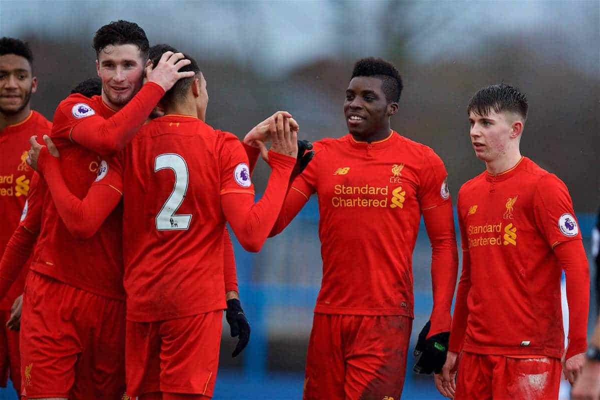 ASHTON-UNDER-LYNE, ENGLAND - Sunday, February 12, 2017: Liverpool's Sheyi Ojo celebrates scoring the fourth goal against Huddersfield Town during the FA Premier League Cup Group G match at Tameside Stadium. (Pic by David Rawcliffe/Propaganda)