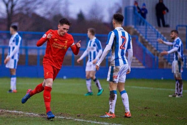 ASHTON-UNDER-LYNE, ENGLAND - Sunday, February 12, 2017: Liverpool's captain Harry Wilson celebrates scoring the fifth goal against Huddersfield Town during the FA Premier League Cup Group G match at Tameside Stadium. (Pic by David Rawcliffe/Propaganda)
