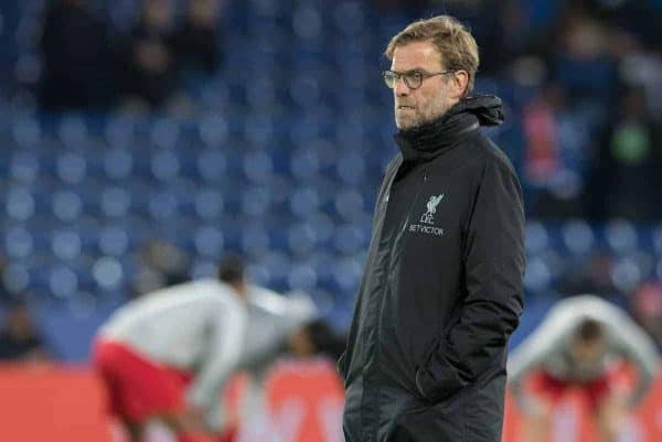 LEICESTER, ENGLAND - Monday, February 27, 2017: Liverpool's Manager Jürgen Klopp before kick off against Leicester City in the FA Premier League match at the King Power Stadium. (Pic by Gavin Trafford/Propaganda)