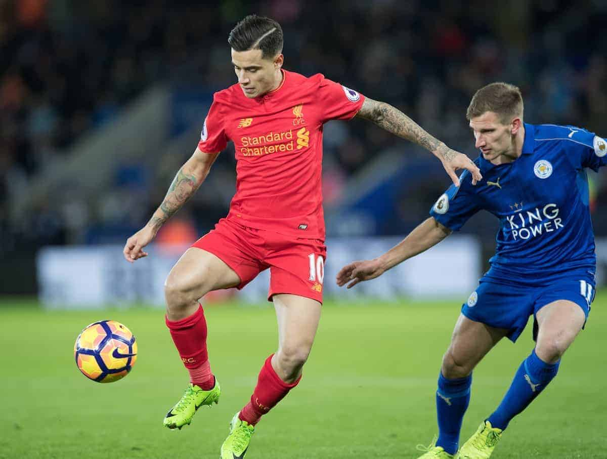 LEICESTER, ENGLAND - Monday, February 27, 2017: Liverpool's Philippe Coutinho in action against Leicester City's Marc Albrighton during the FA Premier League match at the King Power Stadium. (Pic by Gavin Trafford/Propaganda)