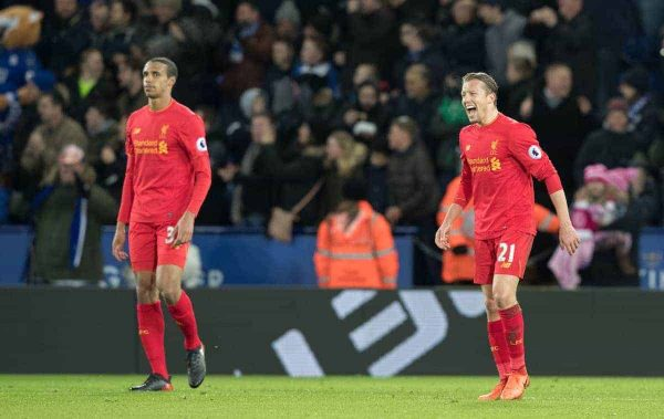 LEICESTER, ENGLAND - Monday, February 27, 2017: Liverpool's Lucas Leiva and Joel Matip look dejected after conceding against Leicester City during the FA Premier League match at the King Power Stadium. (Pic by Gavin Trafford/Propaganda)