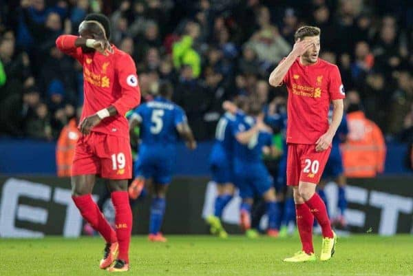 LEICESTER, ENGLAND - Monday, February 27, 2017: Liverpool's Sadio Mane and Adam Lallana look dejected after conceding the first goal against Leicester City during the FA Premier League match at the King Power Stadium. (Pic by Gavin Trafford/Propaganda)