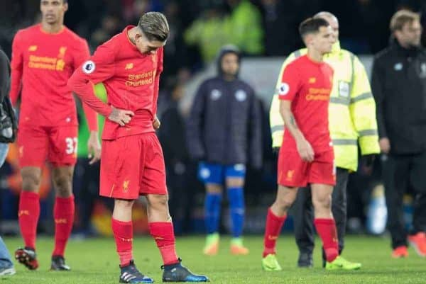 LEICESTER, ENGLAND - Monday, February 27, 2017: Liverpool's Roberto Firmino dejected after losing 3-1 against Leicester City in the FA Premier League match at the King Power Stadium. (Pic by Gavin Trafford/Propaganda)