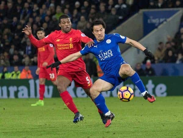 LEICESTER, ENGLAND - Monday, February 27, 2017: Liverpool's Georginio Wijnaldum in action against Leicester City's Shinji Okazaki during the FA Premier League match at the King Power Stadium. (Pic by Gavin Trafford/Propaganda)