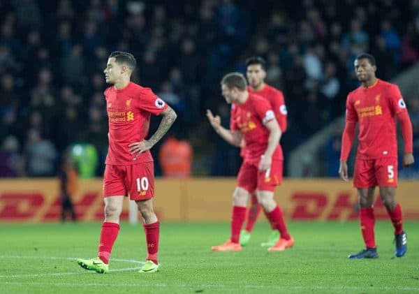 LEICESTER, ENGLAND - Monday, February 27, 2017: Liverpool's Philippe Coutinho,Georginio Wijnaldum, James Milner and Emre Can look dejected after conceding the second goal against Leicester City during the FA Premier League match at the King Power Stadium. (Pic by Gavin Trafford/Propaganda)