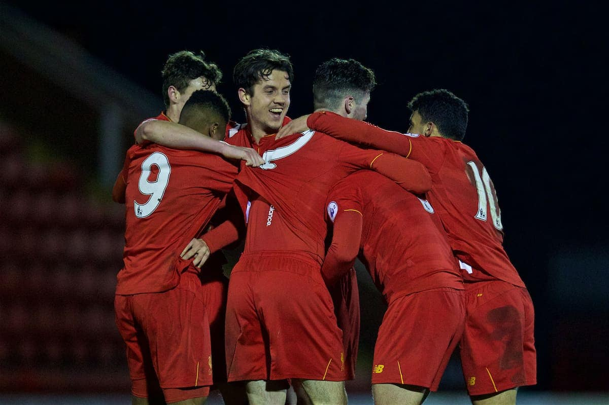 KIDDERMINSTER, ENGLAND - Tuesday, February 28, 2017: Liverpool's players celebrate with goal-scorer Connor Randall [hidden] after he scored the winning goal against West Bromwich Albion in injury time to seal a 1-0 victory during the FA Premier League Cup Group G match at Aggborough Stadium. (Pic by David Rawcliffe/Propaganda)