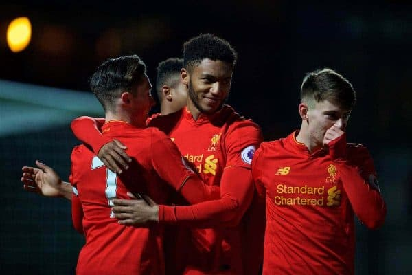 HIGH WYCOMBE, ENGLAND - Monday, March 6, 2017: Liverpool's Joe Gomez celebrates scoring the first goal against Reading during FA Premier League 2 Division 1 Under-23 match at Adams Park Stadium. (Pic by David Rawcliffe/Propaganda)