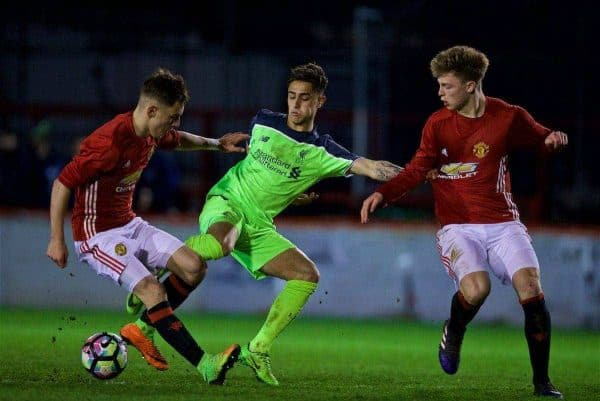 ALTRINGHAM, ENGLAND - Friday, March 10, 2017: Liverpool's Yan Dhanda in action against Manchester United during an Under-18 FA Premier League Merit Group A match at Moss Lane. (Pic by David Rawcliffe/Propaganda)