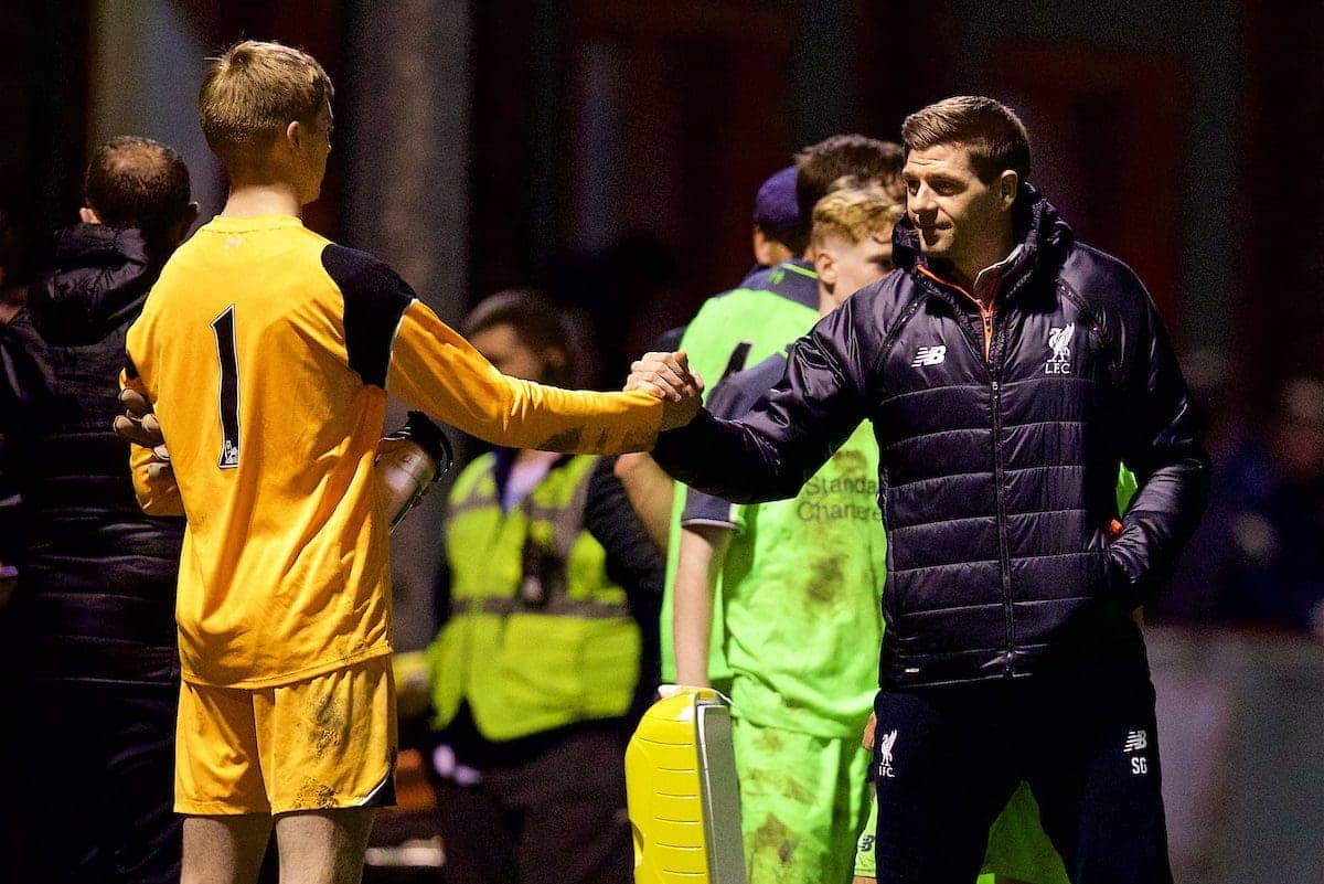 ALTRINGHAM, ENGLAND - Friday, March 10, 2017: Liverpool's academy coach Steven Gerrard congratulates his team after a 2-2 draw with Manchester United during an Under-18 FA Premier League Merit Group A match at Moss Lane. (Pic by David Rawcliffe/Propaganda)