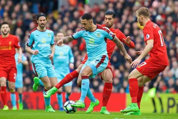 LIVERPOOL, ENGLAND - Sunday, March 12, 2017: Liverpool's Emre Can in action against Burnley's Andre Gray during the FA Premier League match at Anfield. (Pic by David Rawcliffe/Propaganda)