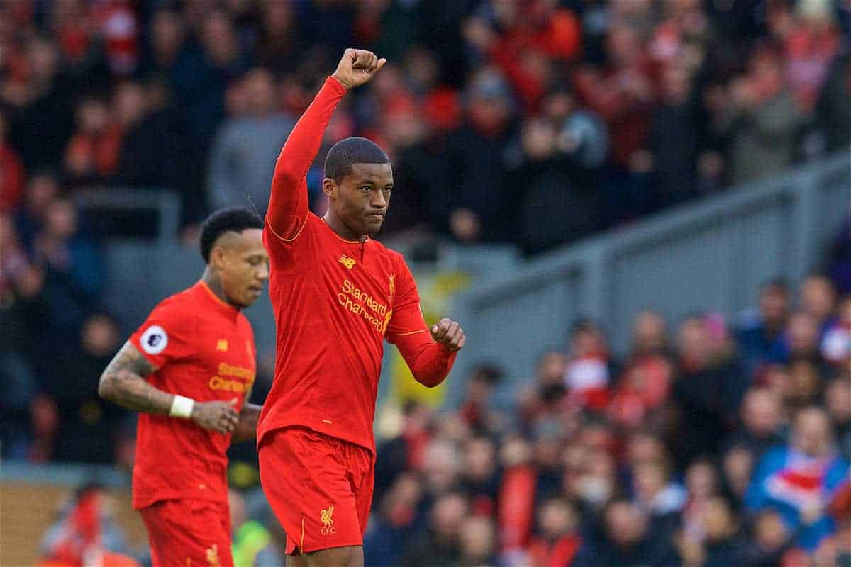 LIVERPOOL, ENGLAND - Sunday, March 12, 2017: Liverpool's Georginio Wijnaldum scores the first equalising goal against Burnley in injury time of the first half during the FA Premier League match at Anfield. (Pic by David Rawcliffe/Propaganda)