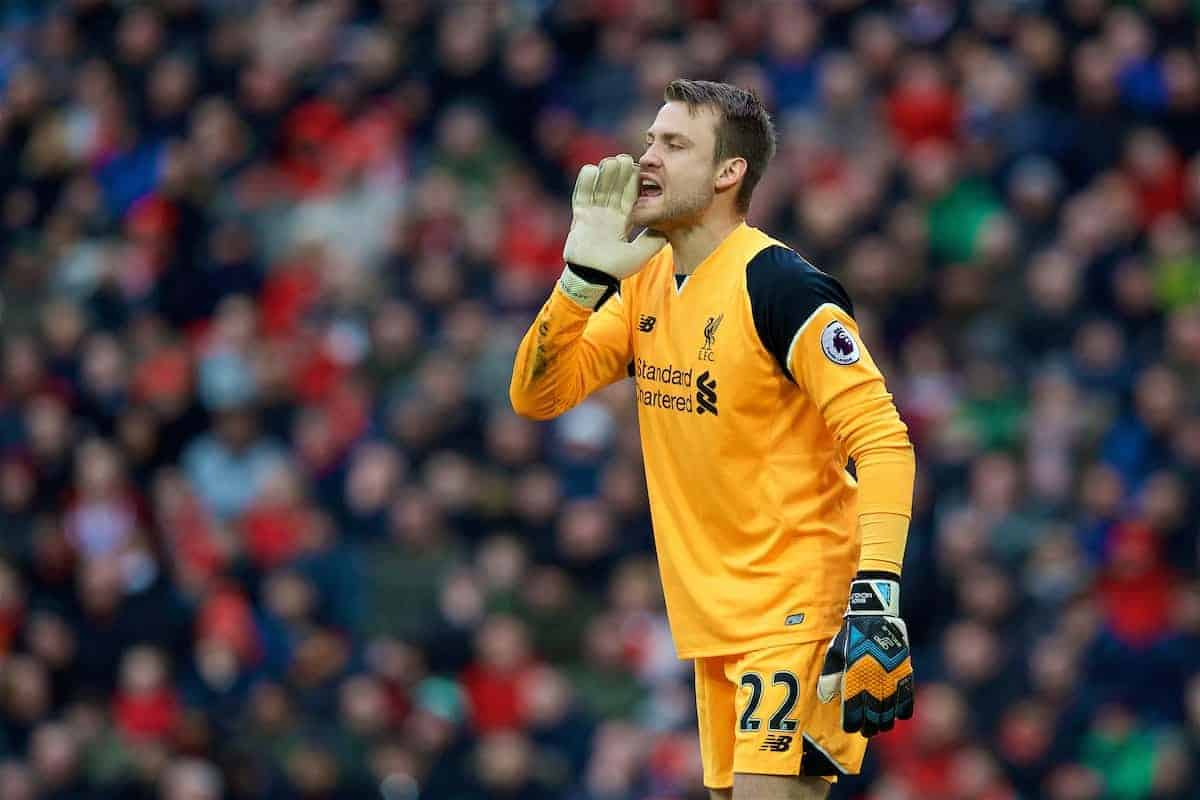 LIVERPOOL, ENGLAND - Sunday, March 12, 2017: Liverpool's goalkeeper Simon Mignolet in action against Burnley during the FA Premier League match at Anfield. (Pic by David Rawcliffe/Propaganda)