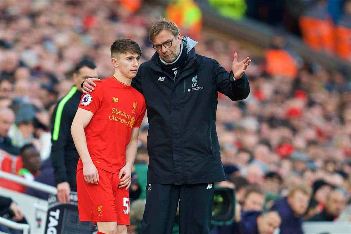 LIVERPOOL, ENGLAND - Sunday, March 12, 2017: Liverpool's manager Jürgen Klopp prepares to bing on substitute Ben Woodburn against Burnley during the FA Premier League match at Anfield. (Pic by David Rawcliffe/Propaganda)
