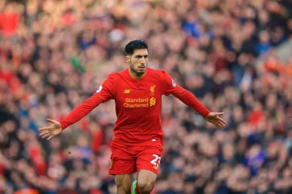 LIVERPOOL, ENGLAND - Sunday, March 12, 2017: Liverpool's Emre Can celebrates scoring the second goal against Burnley during the FA Premier League match at Anfield. (Pic by David Rawcliffe/Propaganda)