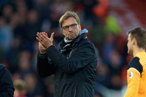 LIVERPOOL, ENGLAND - Sunday, March 12, 2017: Liverpool's manager Jürgen Klopp after the 2-1 victory over Burnley during the FA Premier League match at Anfield. (Pic by David Rawcliffe/Propaganda)